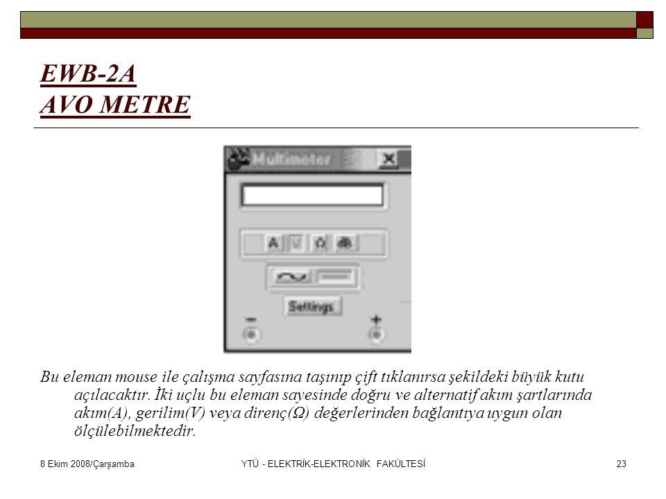 8 Ekim 2008/ÇarşambaYTÜ - ELEKTRİK-ELEKTRONİK FAKÜLTESİ23 EWB-2A AVO METRE Bu eleman mouse ile çalışma sayfasına taşınıp çift tıklanırsa şekildeki büy