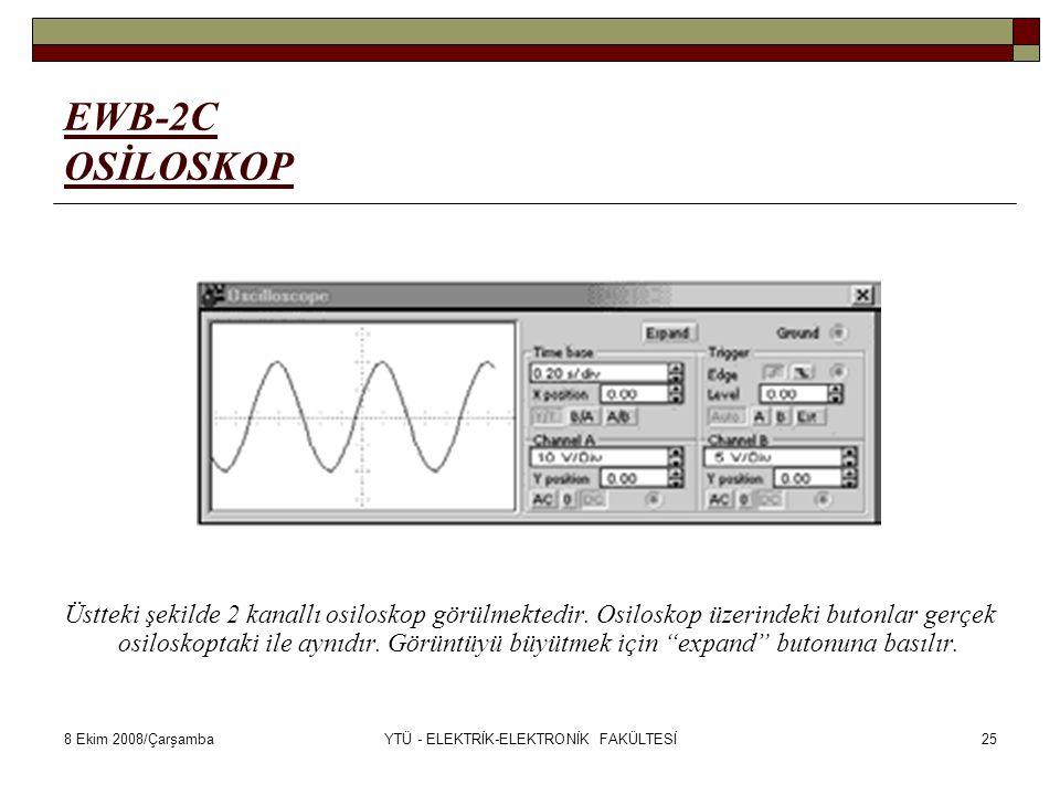 8 Ekim 2008/ÇarşambaYTÜ - ELEKTRİK-ELEKTRONİK FAKÜLTESİ25 EWB-2C OSİLOSKOP Üstteki şekilde 2 kanallı osiloskop görülmektedir. Osiloskop üzerindeki but