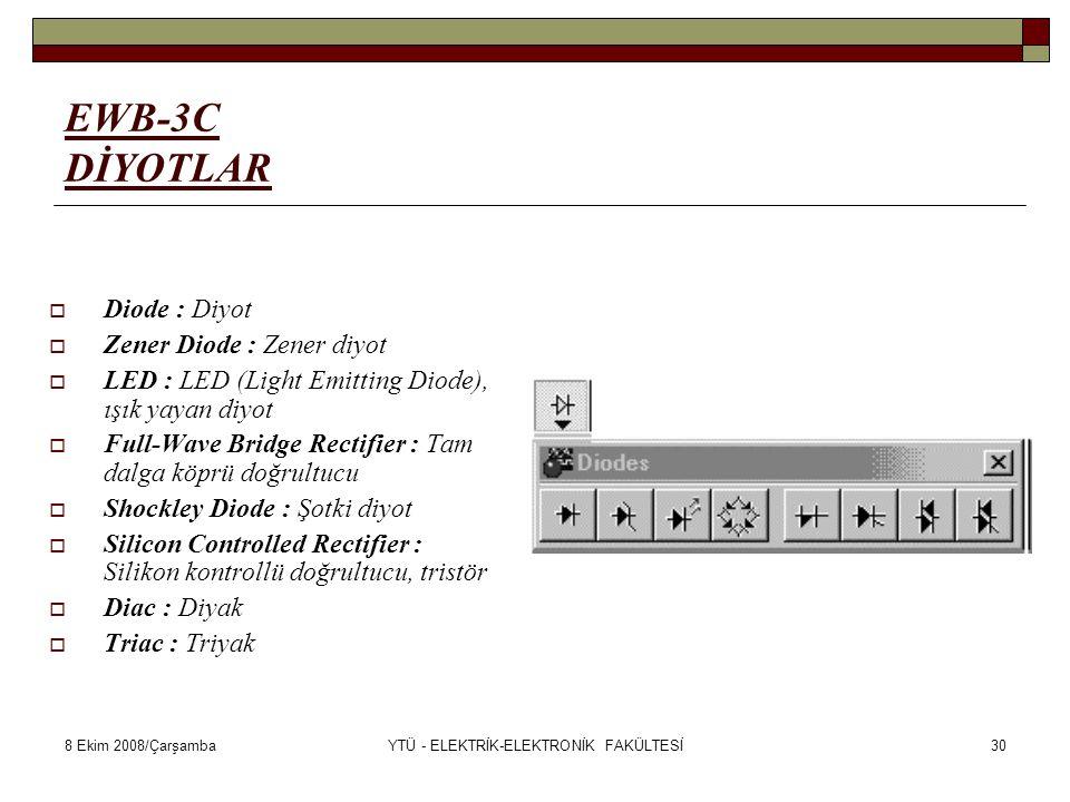 8 Ekim 2008/ÇarşambaYTÜ - ELEKTRİK-ELEKTRONİK FAKÜLTESİ30 EWB-3C DİYOTLAR  Diode : Diyot  Zener Diode : Zener diyot  LED : LED (Light Emitting Diod
