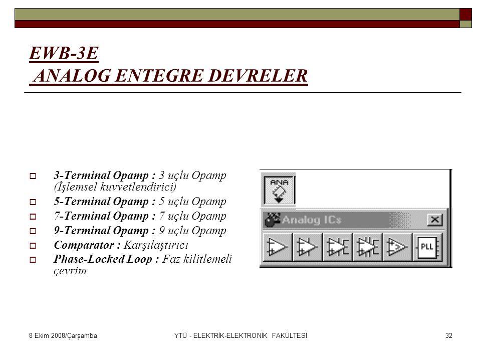 8 Ekim 2008/ÇarşambaYTÜ - ELEKTRİK-ELEKTRONİK FAKÜLTESİ32 EWB-3E ANALOG ENTEGRE DEVRELER  3-Terminal Opamp : 3 uçlu Opamp (İşlemsel kuvvetlendirici)