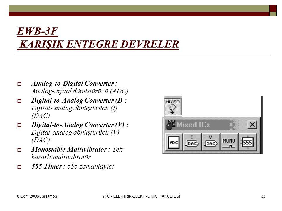8 Ekim 2008/ÇarşambaYTÜ - ELEKTRİK-ELEKTRONİK FAKÜLTESİ33 EWB-3F KARIŞIK ENTEGRE DEVRELER  Analog-to-Digital Converter : Analog-dijital dönüştürücü (