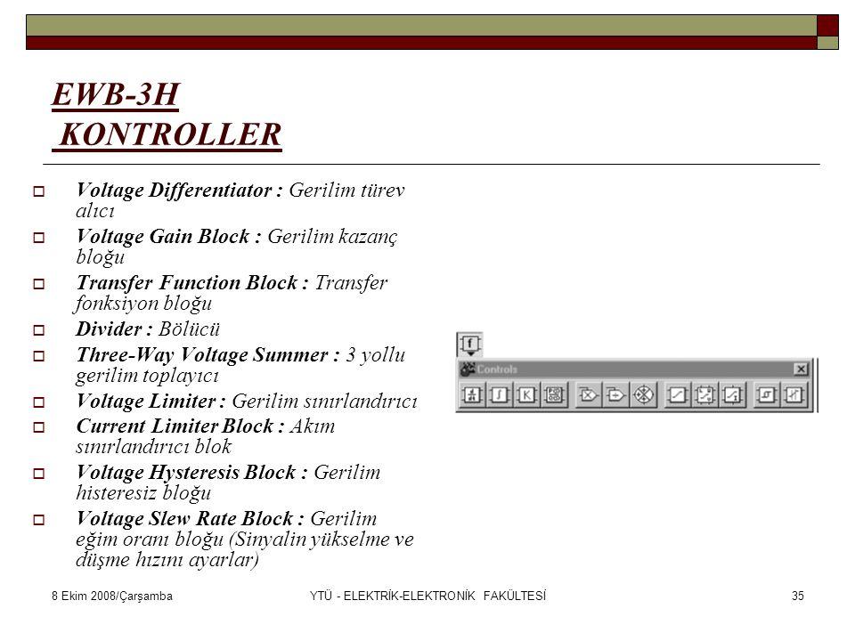 8 Ekim 2008/ÇarşambaYTÜ - ELEKTRİK-ELEKTRONİK FAKÜLTESİ35 EWB-3H KONTROLLER  Voltage Differentiator : Gerilim türev alıcı  Voltage Gain Block : Geri