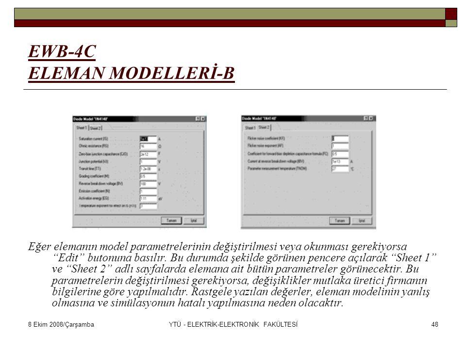 8 Ekim 2008/ÇarşambaYTÜ - ELEKTRİK-ELEKTRONİK FAKÜLTESİ48 EWB-4C ELEMAN MODELLERİ-B Eğer elemanın model parametrelerinin değiştirilmesi veya okunması