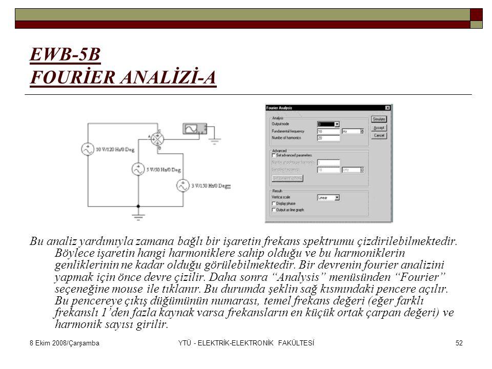 8 Ekim 2008/ÇarşambaYTÜ - ELEKTRİK-ELEKTRONİK FAKÜLTESİ52 EWB-5B FOURİER ANALİZİ-A Bu analiz yardımıyla zamana bağlı bir işaretin frekans spektrumu çi