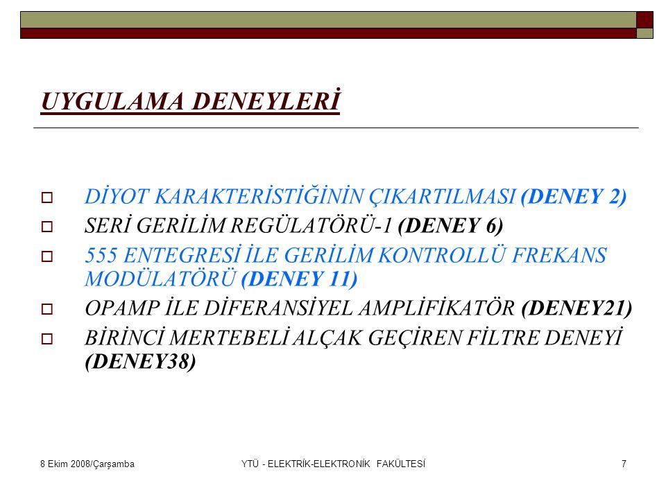 8 Ekim 2008/ÇarşambaYTÜ - ELEKTRİK-ELEKTRONİK FAKÜLTESİ18 ELEMAN YERLEŞİMİ-A