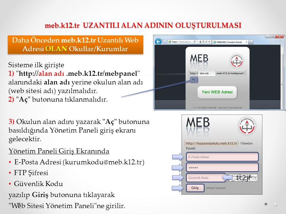 5 1) Sisteme ilk girişte Yeni WEB Adresi butonuna tıklanmalıdır.