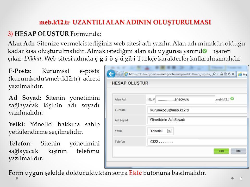 7 4) Bu ekranda web alanınızın başarıyla oluşturulduğunu belirten bilgi yer alıyor.