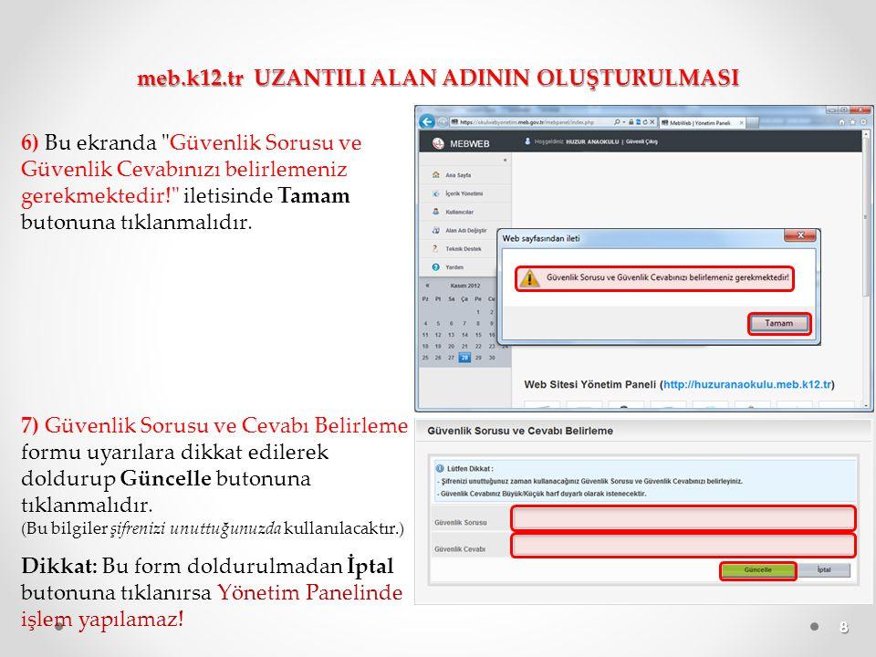 9 8) Yönetim paneline girilip Yayınla butonuna tıklandığında web sitesi, içeriği boş olarak yayınlanmış olur.