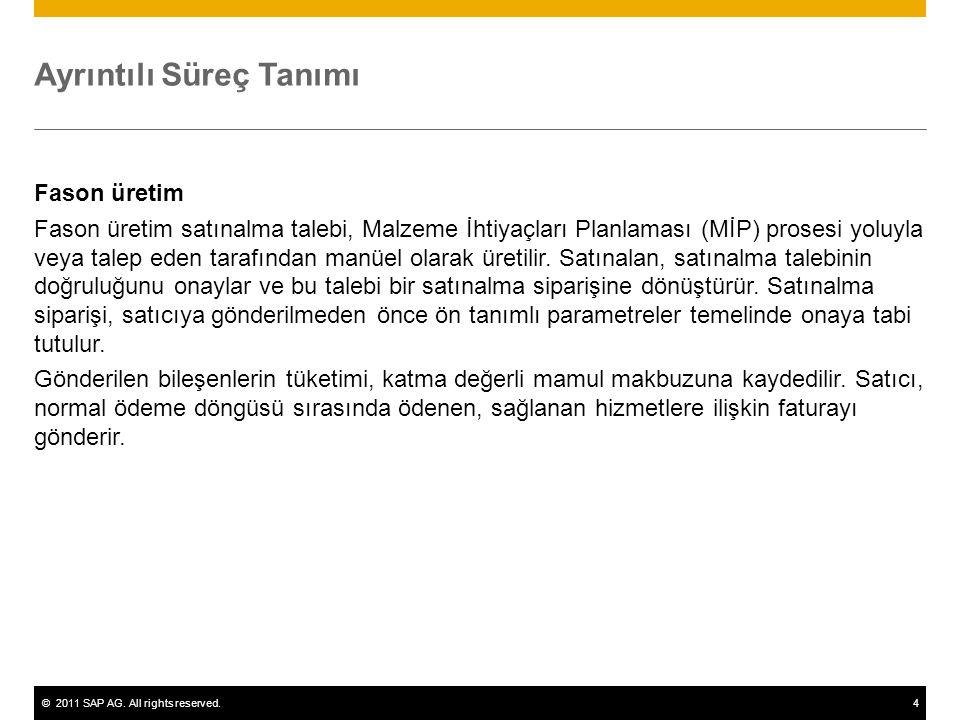 ©2011 SAP AG. All rights reserved.4 Ayrıntılı Süreç Tanımı Fason üretim Fason üretim satınalma talebi, Malzeme İhtiyaçları Planlaması (MİP) prosesi yo