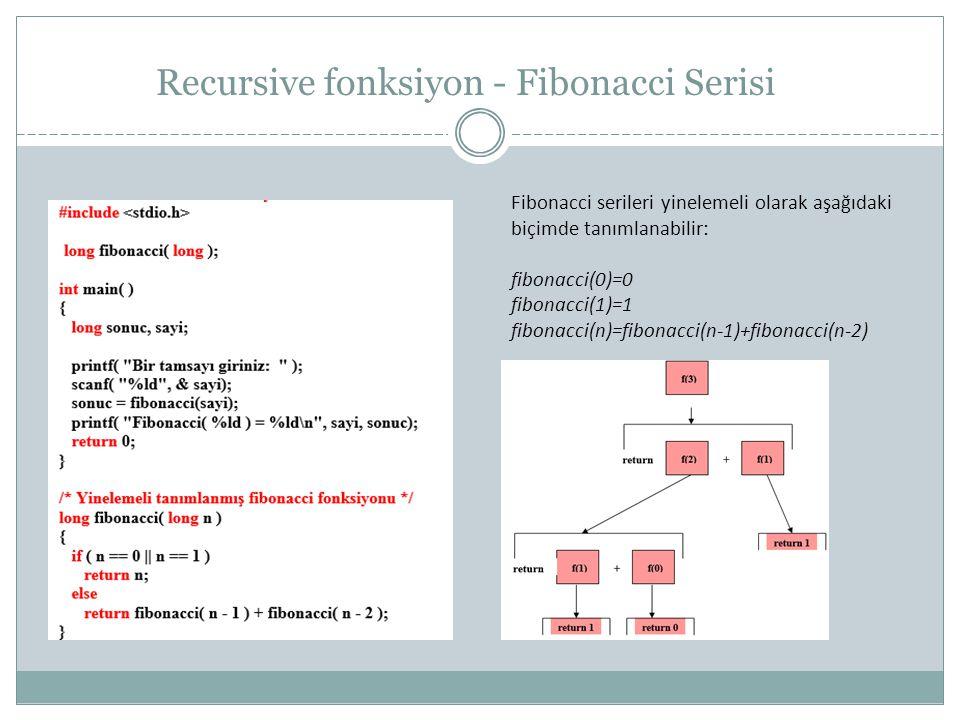 Recursive fonksiyon - Fibonacci Serisi Fibonacci serileri yinelemeli olarak aşağıdaki biçimde tanımlanabilir: fibonacci(0)=0 fibonacci(1)=1 fibonacci(n)=fibonacci(n-1)+fibonacci(n-2)