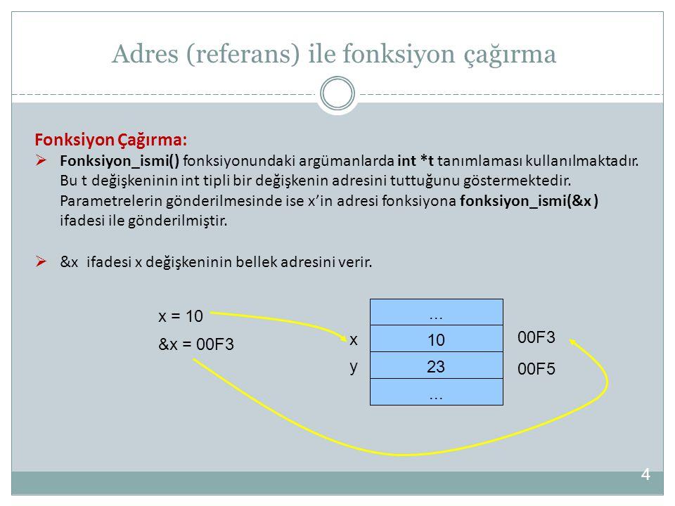 Örnek: Bu örnekte adres ile çağrılan yerdegis() fonksiyonu içerisinde iki ayrı adres alanı a ve b argümanları tarafından tutulmuştur.