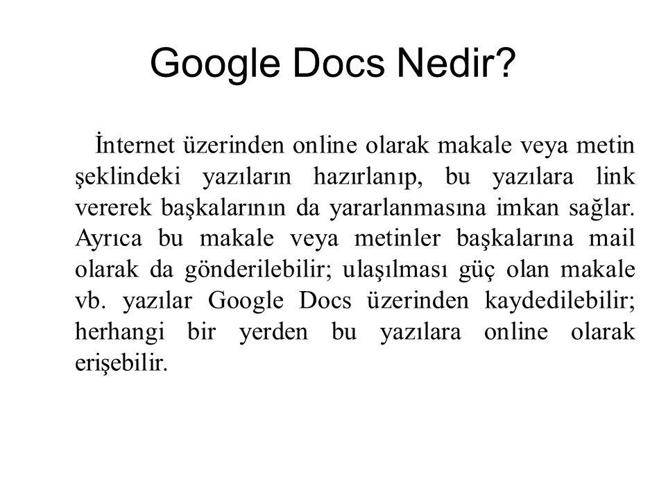 Google Docs Nedir? İnternet üzerinden online olarak makale veya metin şeklindeki yazıların hazırlanıp, bu yazılara link vererek başkalarının da yararl