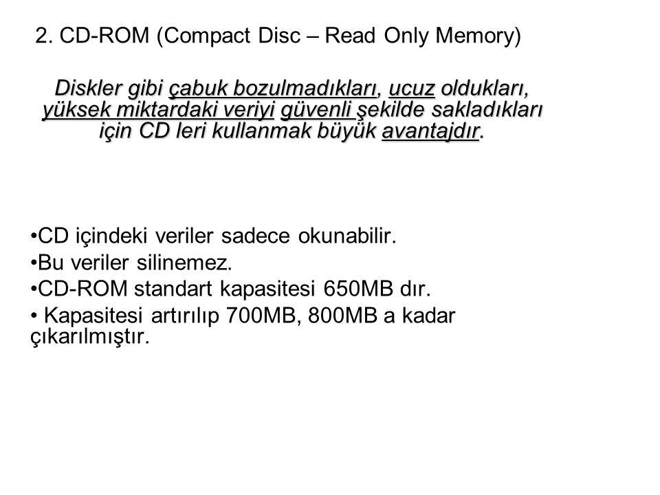 2. CD-ROM (Compact Disc – Read Only Memory) Diskler gibi çabuk bozulmadıkları, ucuz oldukları, yüksek miktardaki veriyi güvenli şekilde sakladıkları i