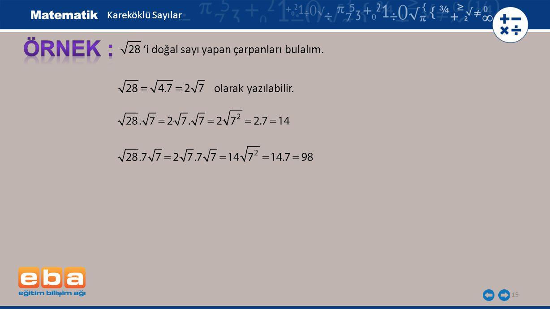 15 'i doğal sayı yapan çarpanları bulalım. olarak yazılabilir. Kareköklü Sayılar