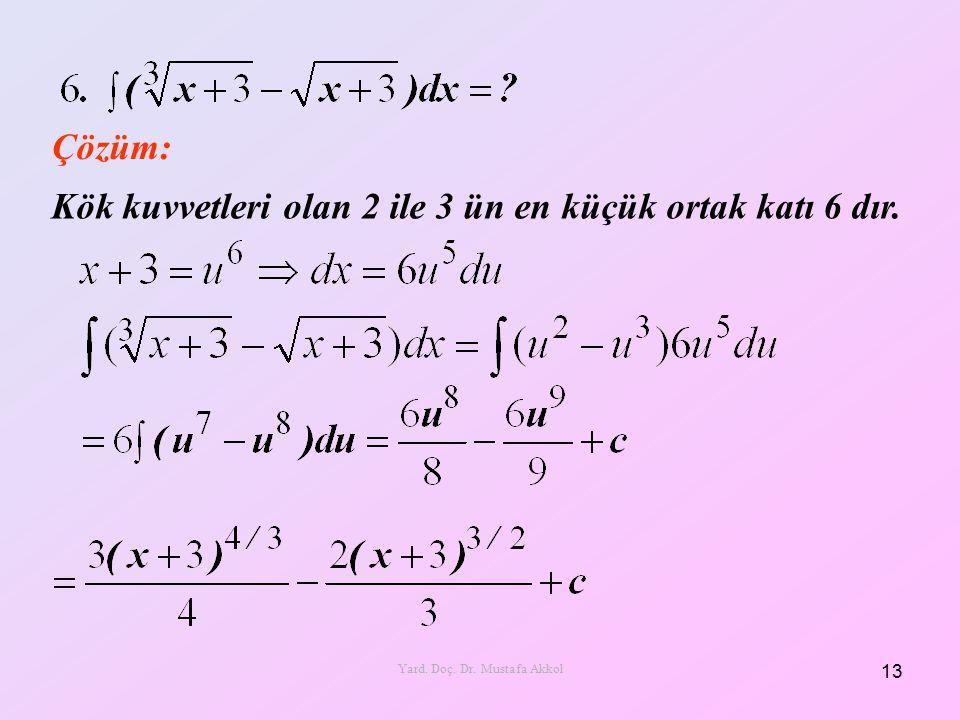 Çözüm: Kök kuvvetleri olan 2 ile 3 ün en küçük ortak katı 6 dır. 13 Yard. Doç. Dr. Mustafa Akkol