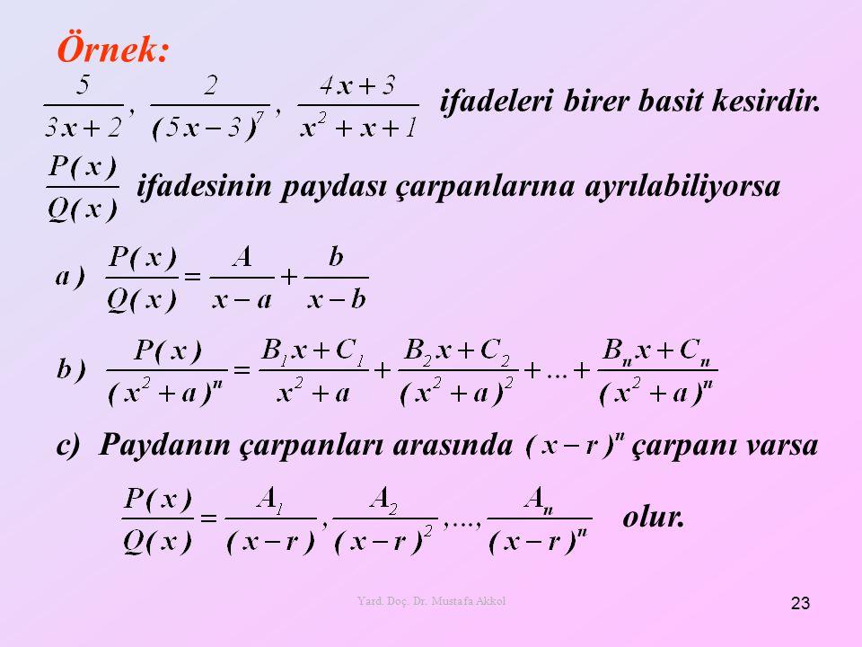 Örnek: 23 Yard. Doç. Dr. Mustafa Akkol ifadeleri birer basit kesirdir. ifadesinin paydası çarpanlarına ayrılabiliyorsa c) Paydanın çarpanları arasında