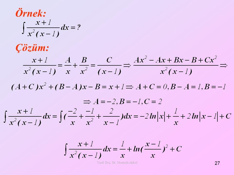 Örnek: Çözüm: 27 Yard. Doç. Dr. Mustafa Akkol