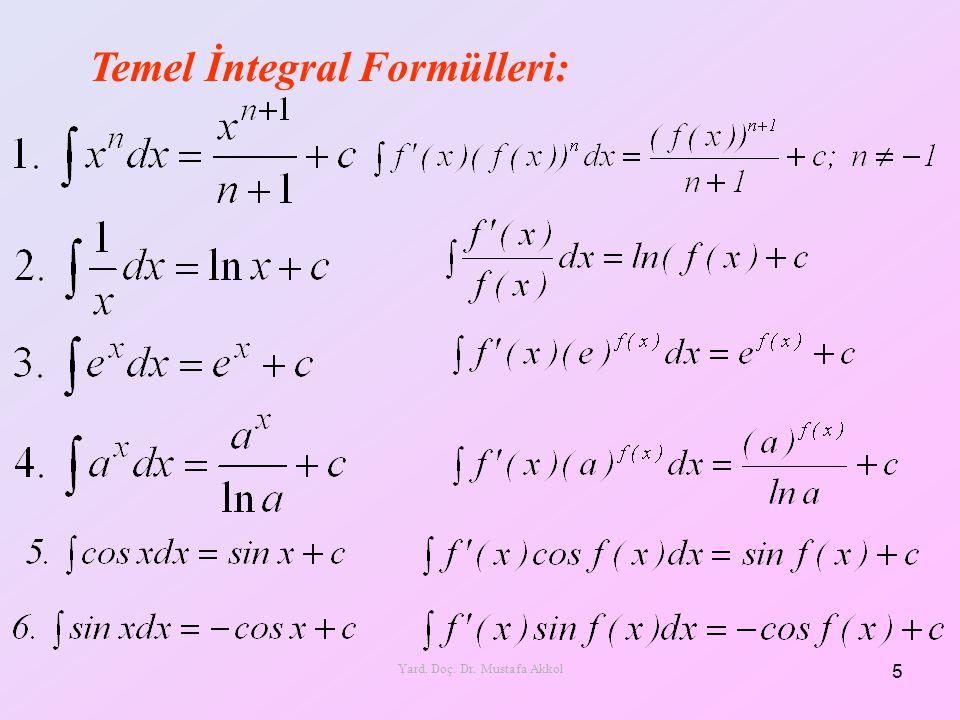 Temel İntegral Formülleri: 5 Yard. Doç. Dr. Mustafa Akkol