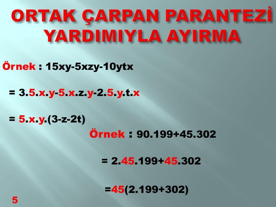 4x²+6x ifadesini ortak çarpan parantezine alarak çarpanlara ayıralım: 4x²=2.2.x.x ve 6x=2.3.x ortak çarpanlar 2x 2x parantezine alırsak sonuç ; 2x(2x+