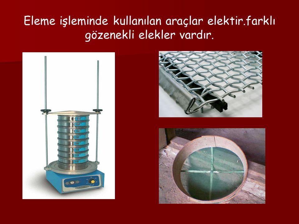 Eleme işleminde kullanılan araçlar elektir.farklı gözenekli elekler vardır.