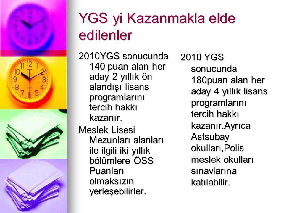 YGS yi Kazanmakla elde edilenler 2010YGS sonucunda 140 puan alan her aday 2 yıllık ön alandışı lisans programlarını tercih hakkı kazanır. Meslek Lises