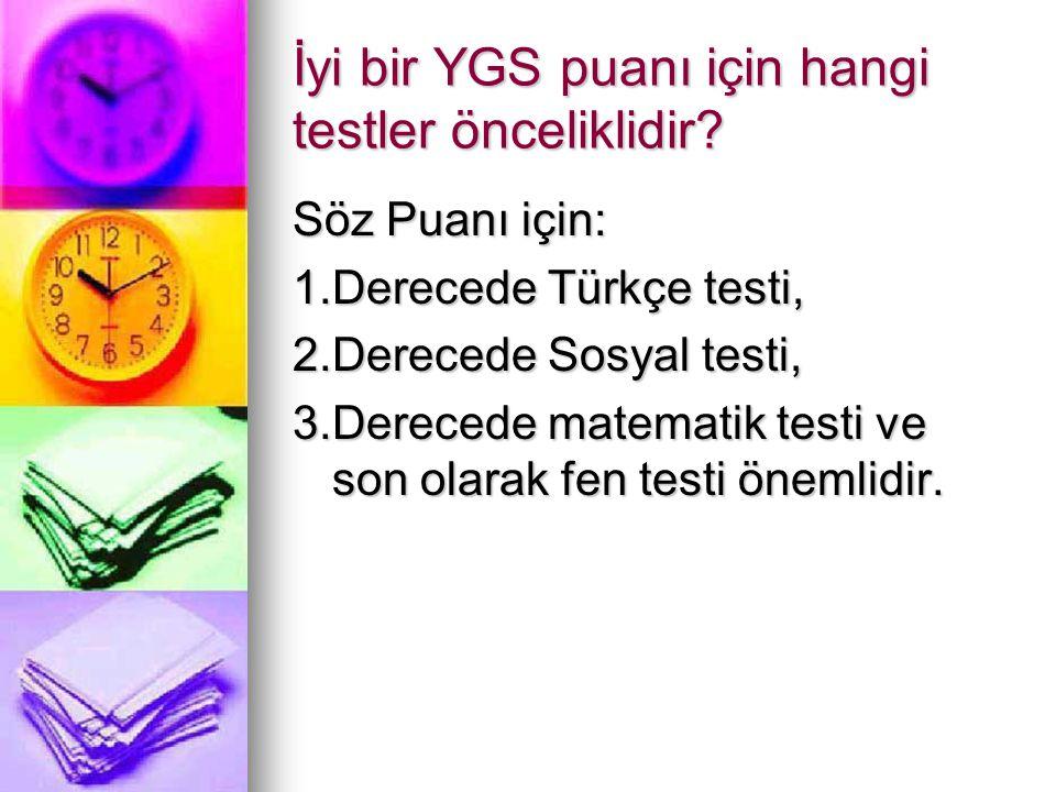 İyi bir YGS puanı için hangi testler önceliklidir? Söz Puanı için: 1.Derecede Türkçe testi, 2.Derecede Sosyal testi, 3.Derecede matematik testi ve son