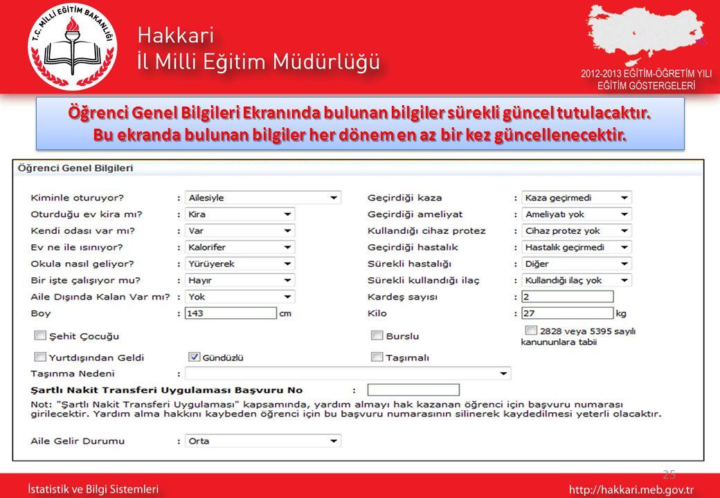 25 Öğrenci Genel Bilgileri Ekranında bulunan bilgiler sürekli güncel tutulacaktır.