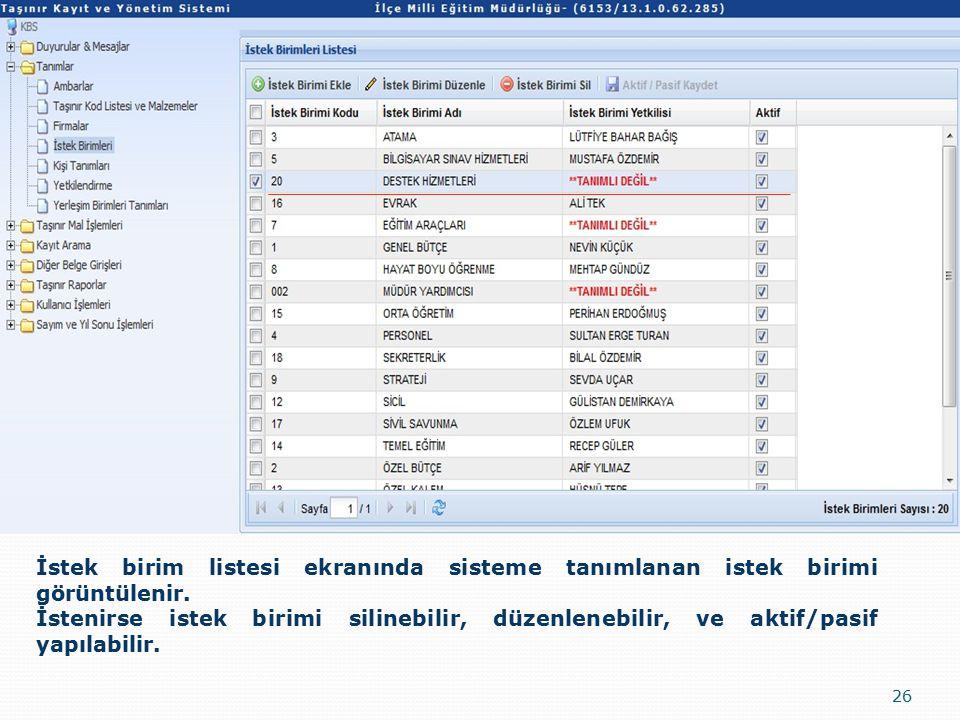 26 İstek birim listesi ekranında sisteme tanımlanan istek birimi görüntülenir.