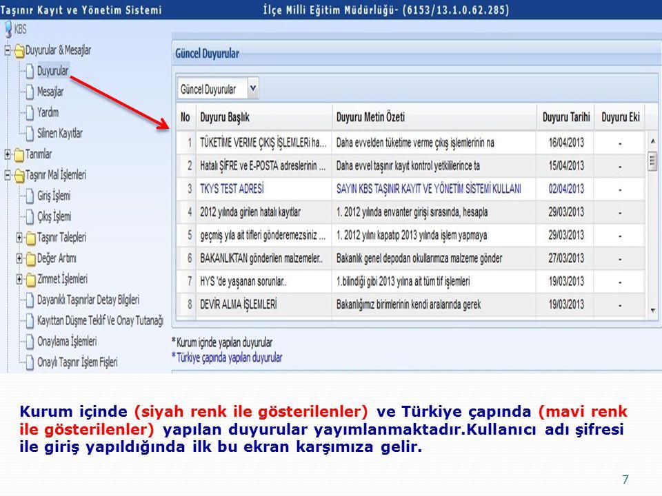 7 Kurum içinde (siyah renk ile gösterilenler) ve Türkiye çapında (mavi renk ile gösterilenler) yapılan duyurular yayımlanmaktadır.Kullanıcı adı şifresi ile giriş yapıldığında ilk bu ekran karşımıza gelir.