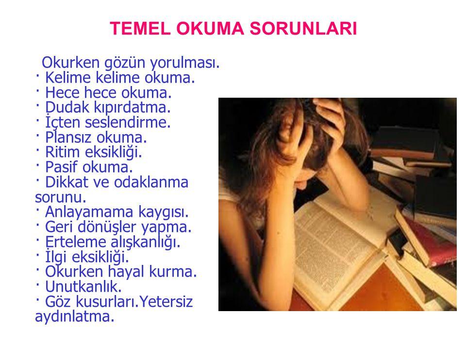 TEMEL OKUMA SORUNLARI Okurken gözün yorulması. · Kelime kelime okuma. · Hece hece okuma. · Dudak kıpırdatma. · İçten seslendirme. · Plansız okuma. · R