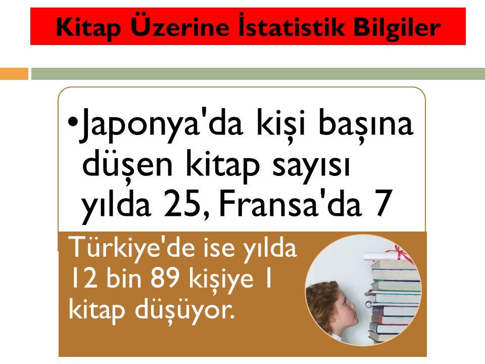 Japonya da kişi başına düşen kitap sayısı yılda 25, Fransa da 7 Türkiye de ise yılda 12 bin 89 kişiye 1 kitap düşüyor.