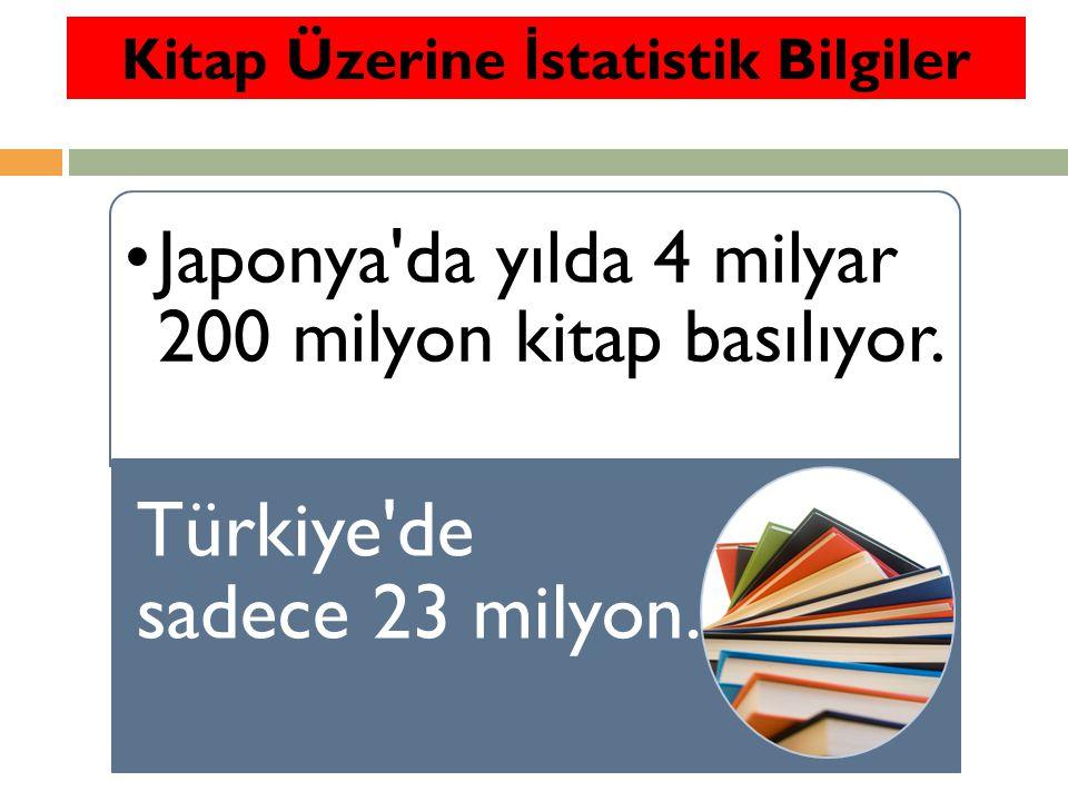 Japonya'da kişi başına düşen kitap sayısı yılda 25, Fransa'da 7 Türkiye'de ise yılda 12 bin 89 kişiye 1 kitap düşüyor. Kitap Üzerine İ statistik Bilgi