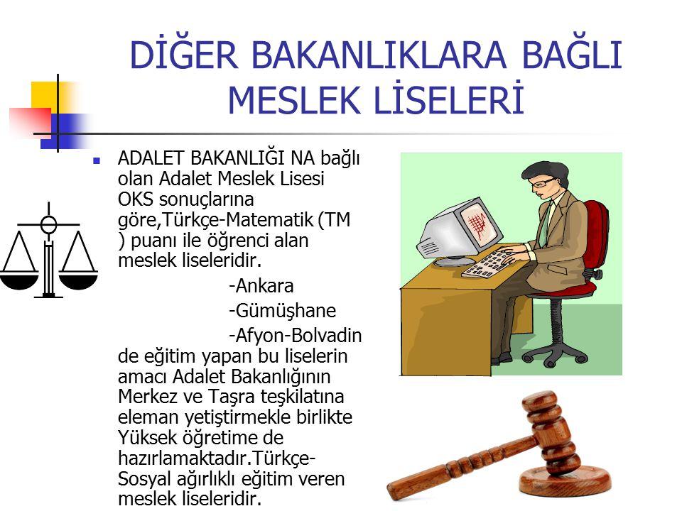 DİĞER BAKANLIKLARA BAĞLI MESLEK LİSELERİ ADALET BAKANLIĞI NA bağlı olan Adalet Meslek Lisesi OKS sonuçlarına göre,Türkçe-Matematik (TM ) puanı ile öğr