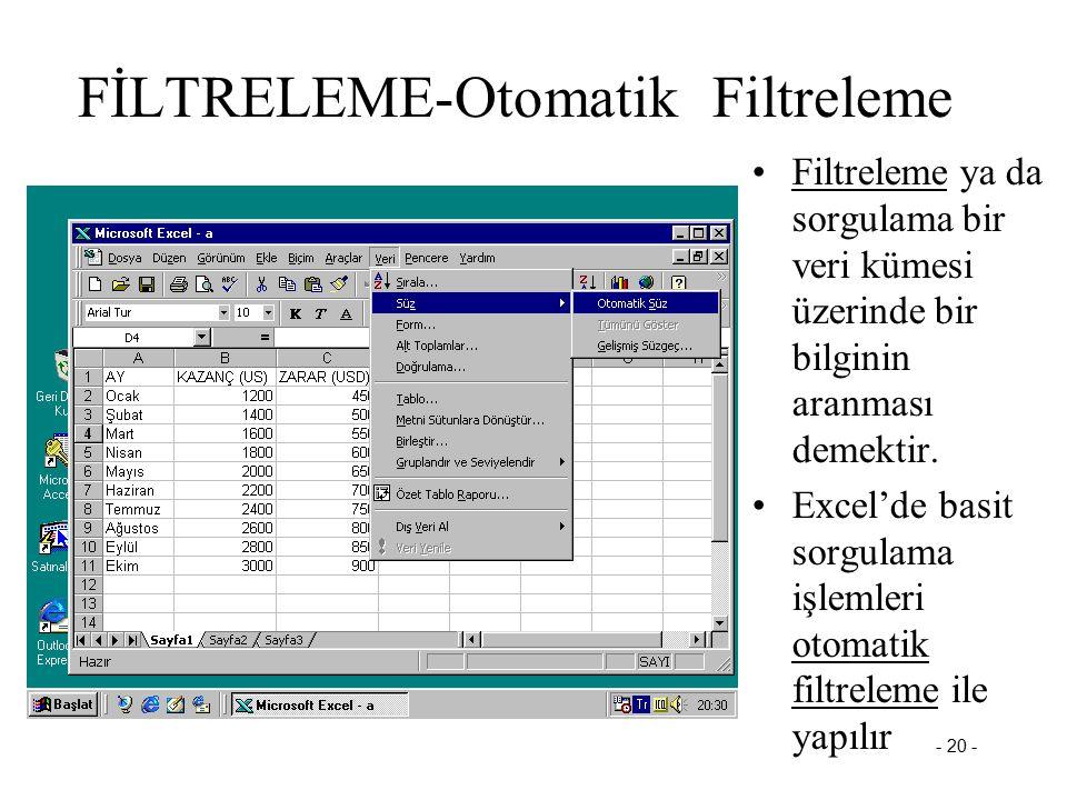 - 20 - FİLTRELEME-Otomatik Filtreleme Filtreleme ya da sorgulama bir veri kümesi üzerinde bir bilginin aranması demektir. Excel'de basit sorgulama işl