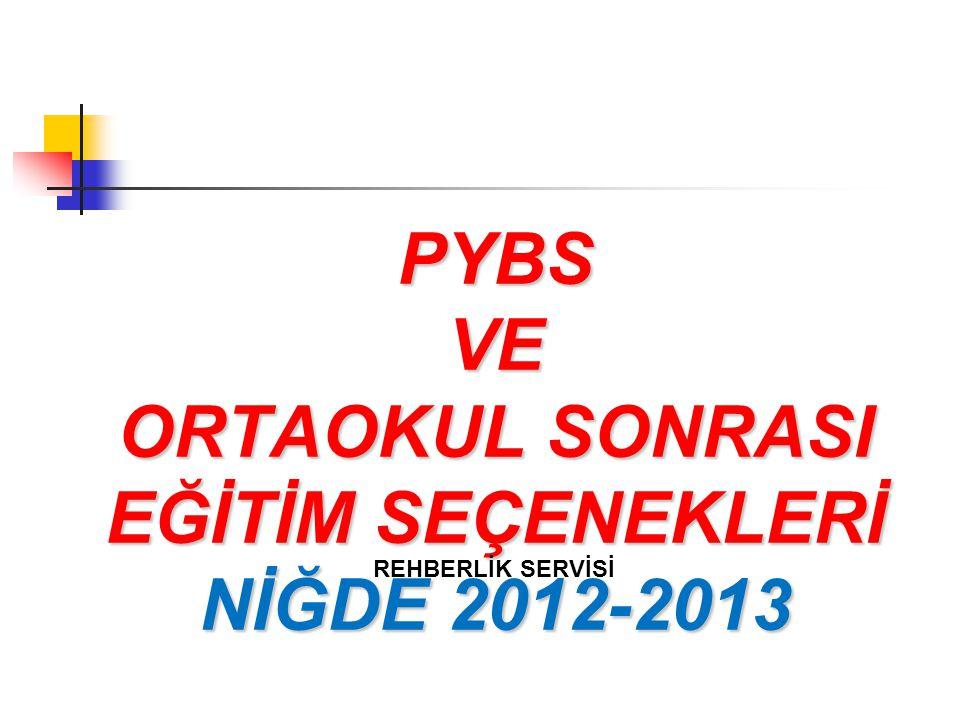 PYBS VE ORTAOKUL SONRASI EĞİTİM SEÇENEKLERİ NİĞDE 2012-2013 REHBERLİK SERVİSİ