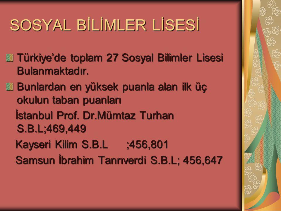 Türkiye'de toplam 27 Sosyal Bilimler Lisesi Bulanmaktadır. Bunlardan en yüksek puanla alan ilk üç okulun taban puanları İstanbul Prof. Dr.Mümtaz Turha