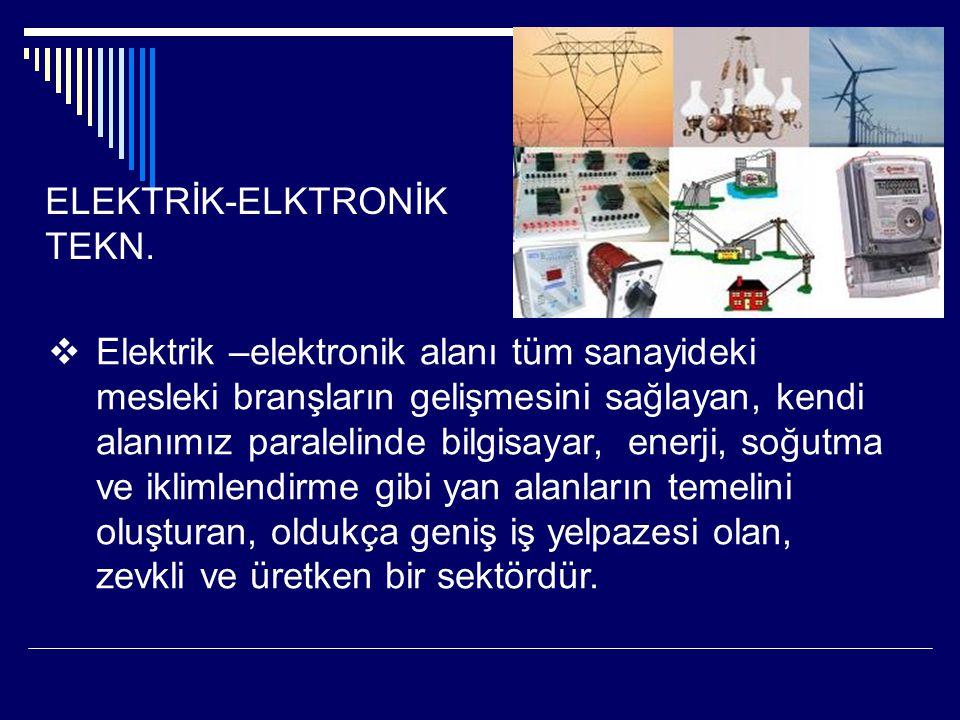 ELEKTRİK-ELKTRONİK TEKN.  Elektrik –elektronik alanı tüm sanayideki mesleki branşların gelişmesini sağlayan, kendi alanımız paralelinde bilgisayar, e