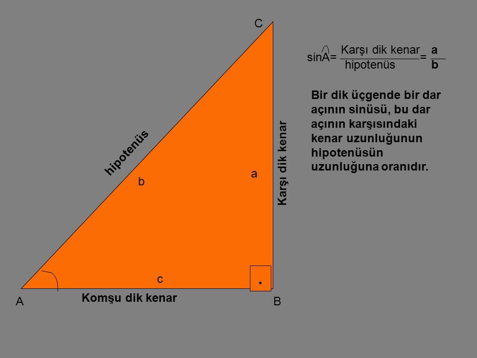 . A C B Karşı dik kenar Komşu dik kenar hipotenüs a b c cos A V == Komşu dik kenar hipotenüs c b Bir dik üçgende bir dar açının kosinüsü, bu dar açının komşu dik kenar uzunluğunun hipotenüsün uzunluğuna oranına eşittir.