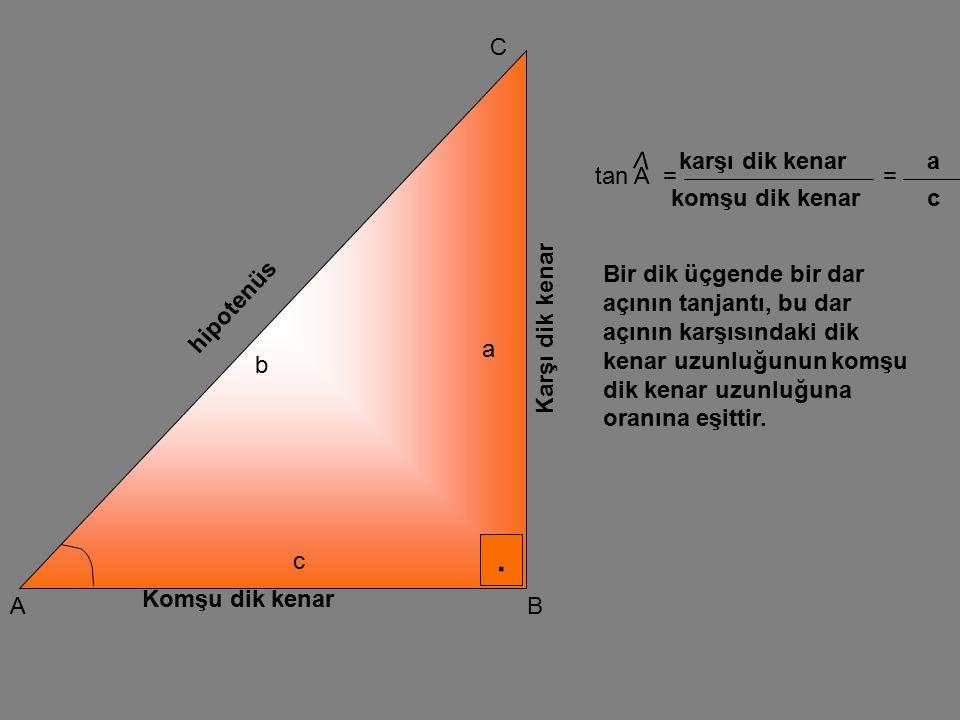 . A C B Karşı dik kenar Komşu dik kenar hipotenüs a b c cot A V == karşı dik kenar komşu dik kenar a c Bir dik üçgende bir dar açının kotanjantı, bu dar açının komşu dik kenar uzunluğunun karşı dik kenar uzunluğuna oranına eşittir.