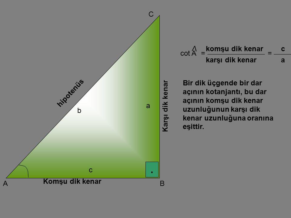 . A C B Karşı dik kenar Komşu dik kenar hipotenüs a b c cot A V == karşı dik kenar komşu dik kenar a c Bir dik üçgende bir dar açının kotanjantı, bu d