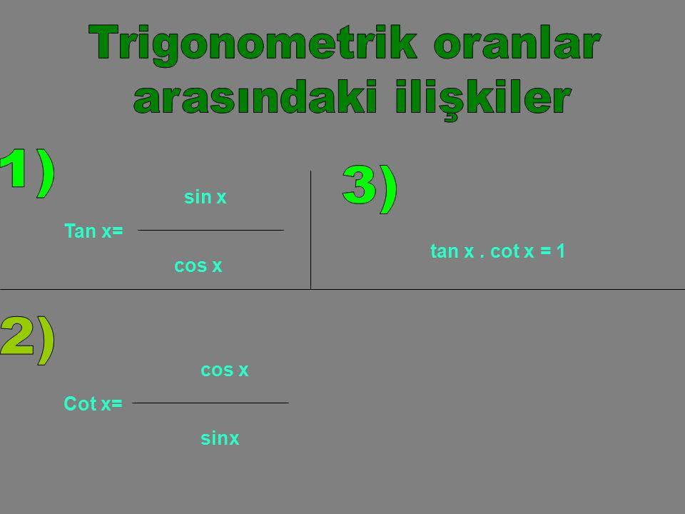 Birbirlerini 90 0 ye tamamlayan iki açıdan birinin sinüsü diğerinin kosinüsüne eşittir.