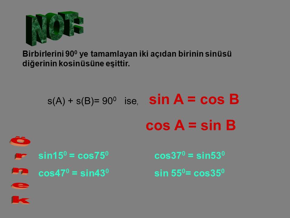 Birbirlerini 90 0 ye tamamlayan iki açıdan birinin sinüsü diğerinin kosinüsüne eşittir. s(A) + s(B)= 90 0 ise, sin A = cos B cos A = sin B sin15 0 = c