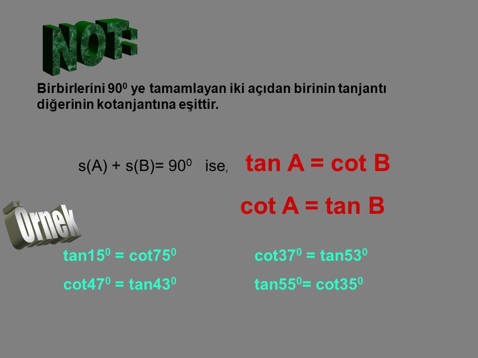 Birbirlerini 90 0 ye tamamlayan iki açıdan birinin tanjantı diğerinin kotanjantına eşittir. s(A) + s(B)= 90 0 ise, tan A = cot B cot A = tan B tan15 0