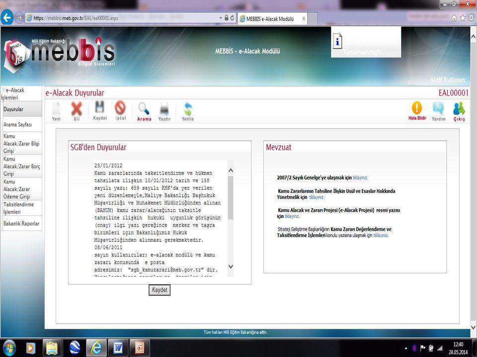 Kayıttan sonra ekran görüntüsü.Kayıttan sonra ekran görüntüsü.