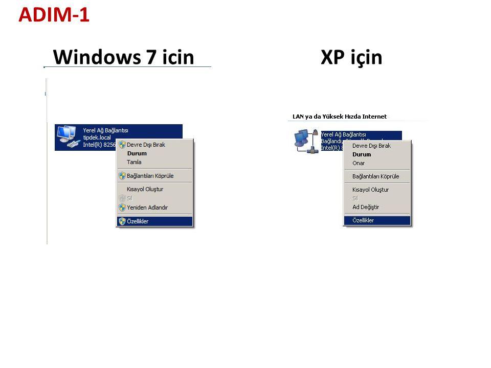 XP içinWindows 7 için ADIM-1