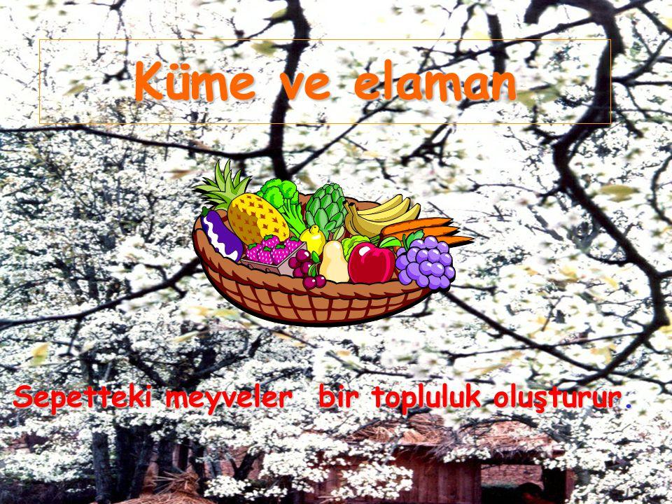 Küme ve elaman Sepetteki meyveler bir topluluk oluşturur.