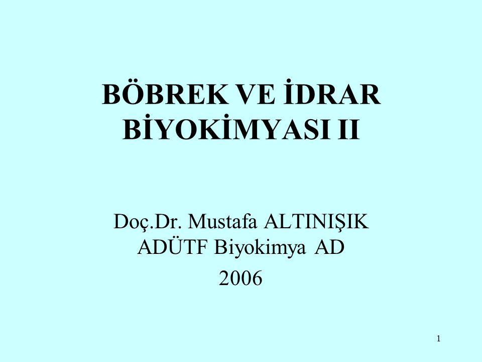 1 BÖBREK VE İDRAR BİYOKİMYASI II Doç.Dr. Mustafa ALTINIŞIK ADÜTF Biyokimya AD 2006