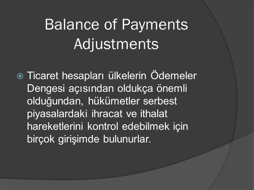 Balance of Payments Adjustments  Ticaret hesapları ülkelerin Ödemeler Dengesi açısından oldukça önemli olduğundan, hükümetler serbest piyasalardaki i