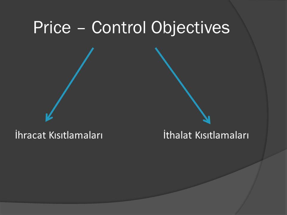 Price – Control Objectives İhracat Kısıtlamalarıİthalat Kısıtlamaları