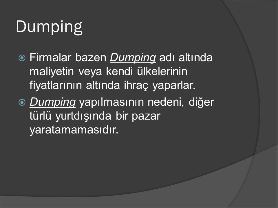 Dumping  Firmalar bazen Dumping adı altında maliyetin veya kendi ülkelerinin fiyatlarının altında ihraç yaparlar.  Dumping yapılmasının nedeni, diğe
